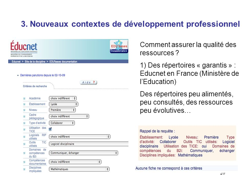 3. Nouveaux contextes de développement professionnel