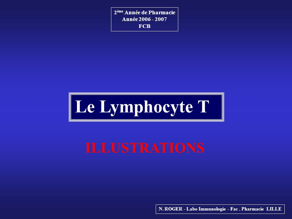 Le Lymphocyte T ILLUSTRATIONS 2ème Année de Pharmacie