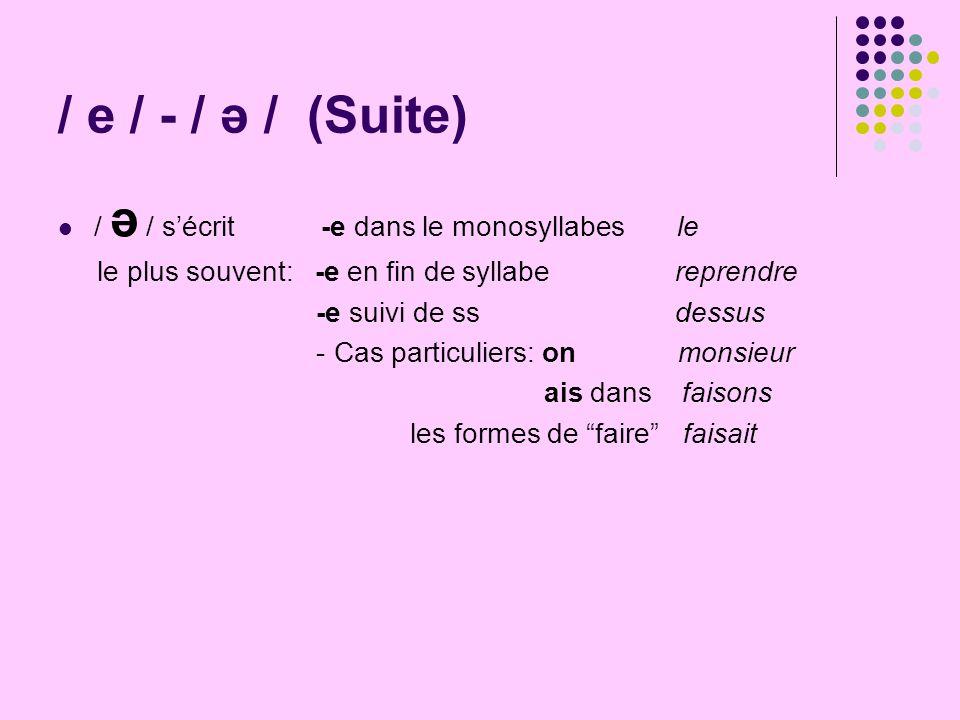 / e / - / ə / (Suite) / ə / s'écrit -e dans le monosyllabes le