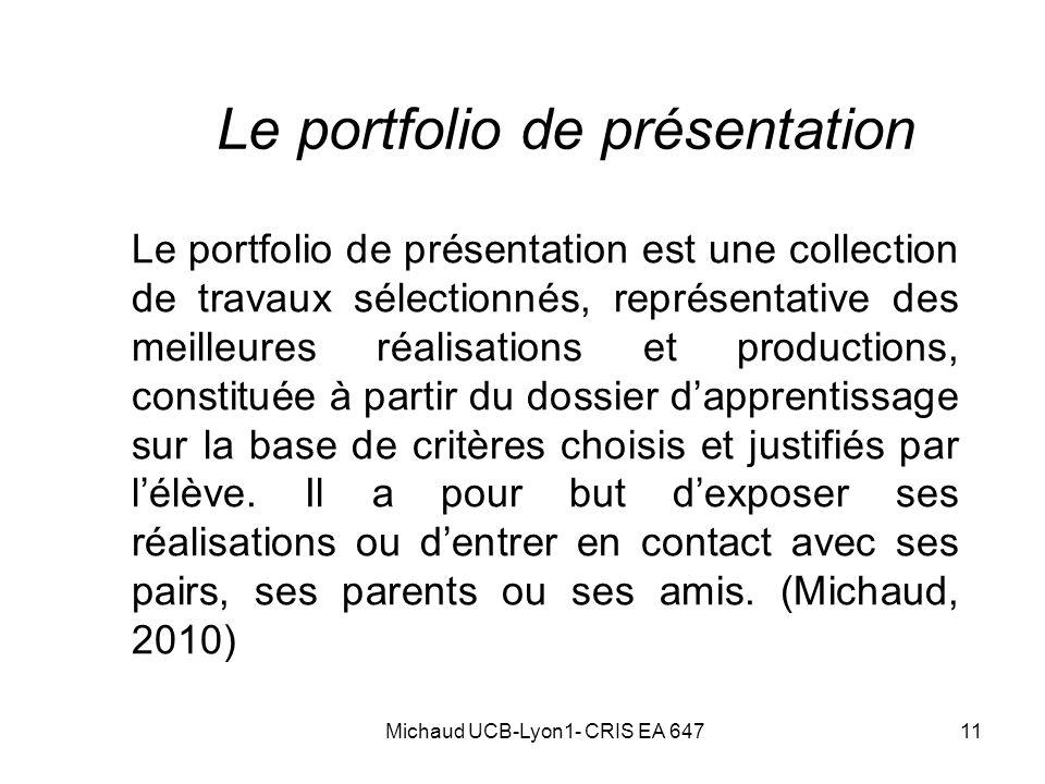 Le portfolio de présentation