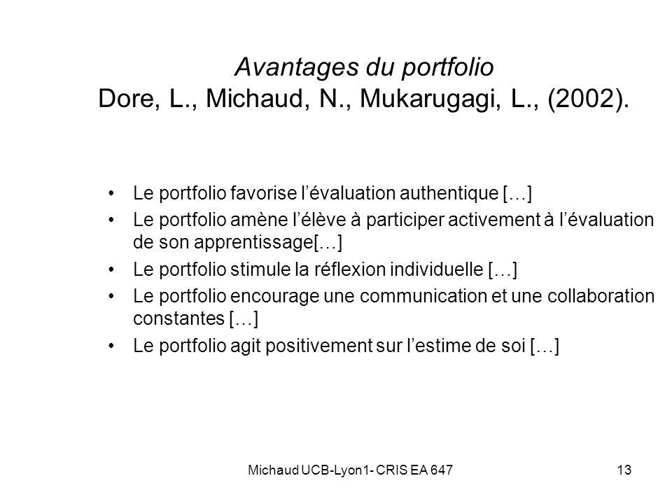 Avantages du portfolio Dore, L., Michaud, N., Mukarugagi, L., (2002).