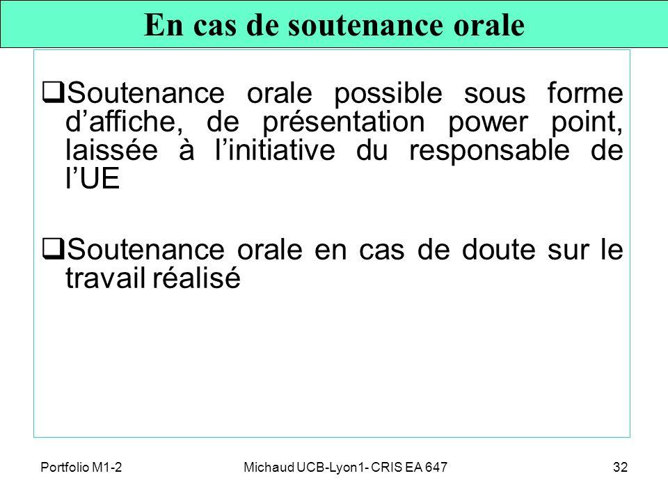 En cas de soutenance orale