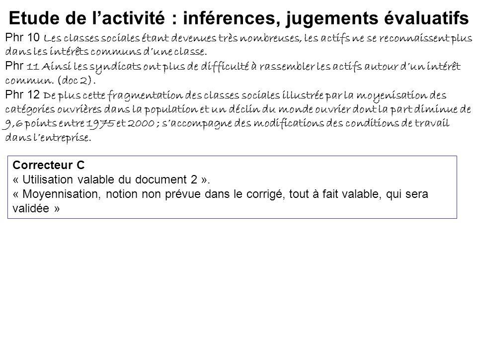 Etude de l'activité : inférences, jugements évaluatifs