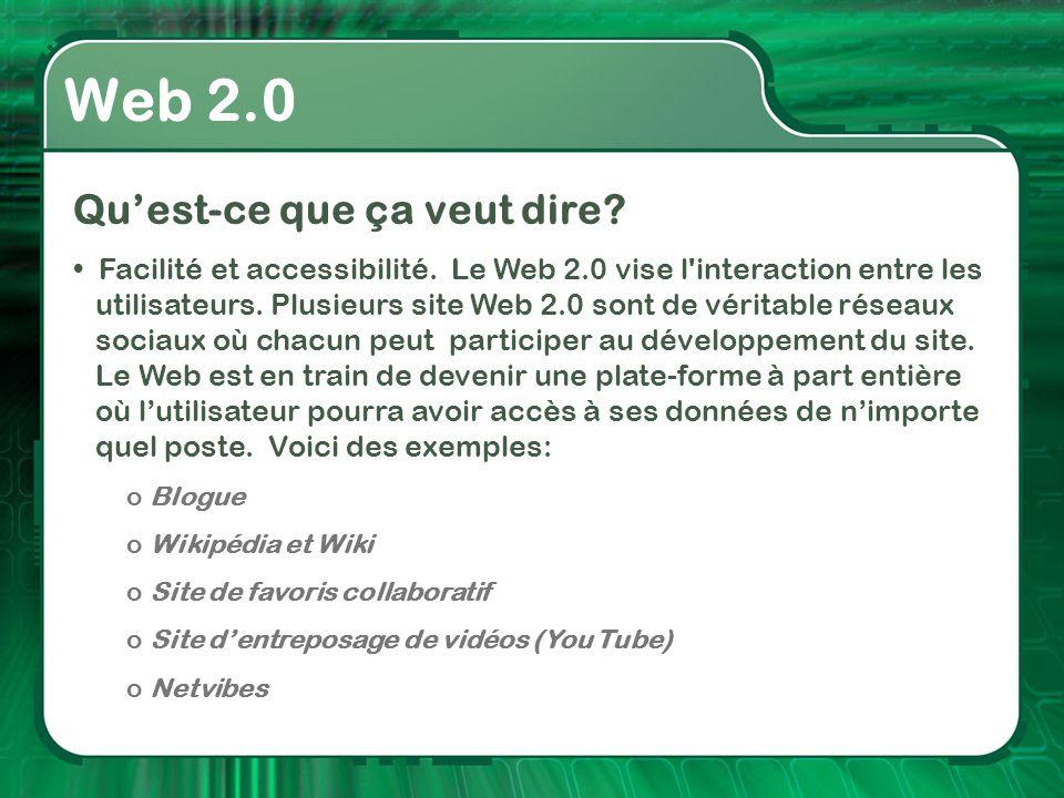 Web 2.0 Qu'est-ce que ça veut dire