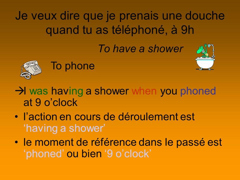 Je veux dire que je prenais une douche quand tu as téléphoné, à 9h
