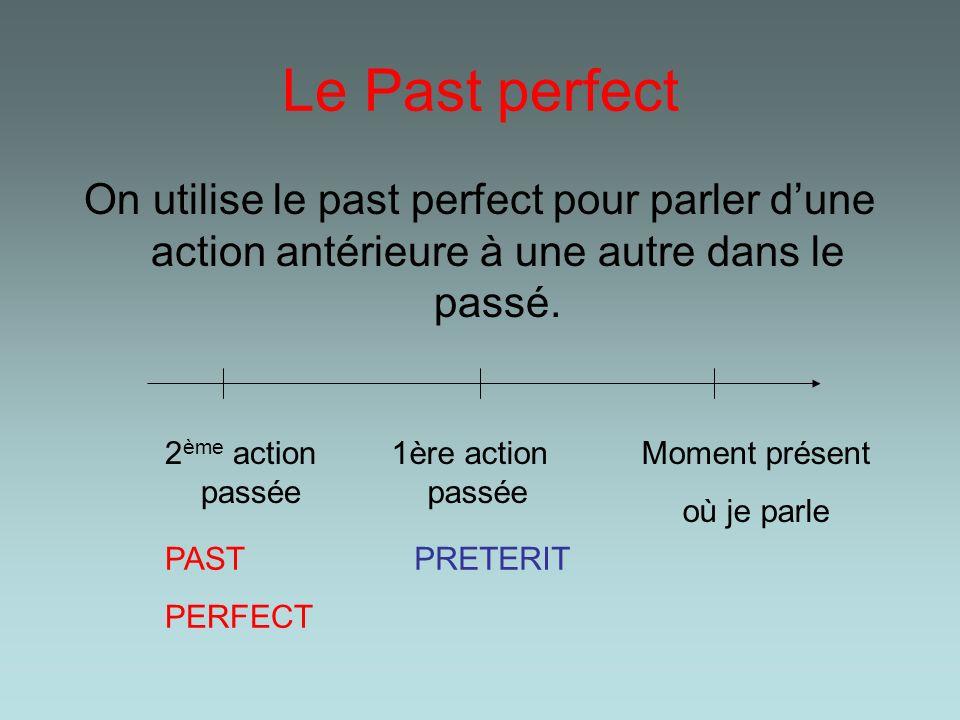 Le Past perfect On utilise le past perfect pour parler d'une action antérieure à une autre dans le passé.