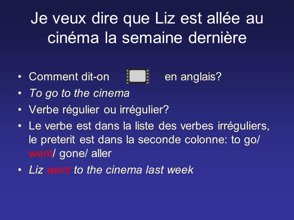 Je veux dire que Liz est allée au cinéma la semaine dernière