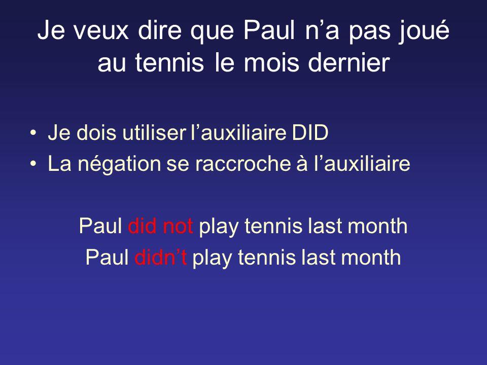 Je veux dire que Paul n'a pas joué au tennis le mois dernier