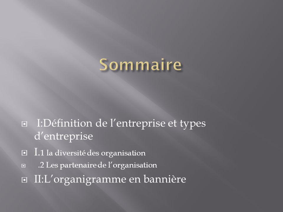 Sommaire I:Définition de l'entreprise et types d'entreprise