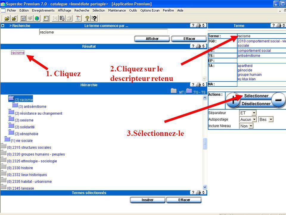2.Cliquez sur le descripteur retenu