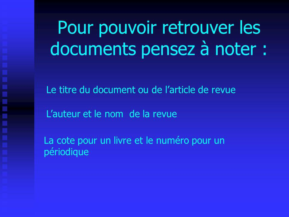 Pour pouvoir retrouver les documents pensez à noter :