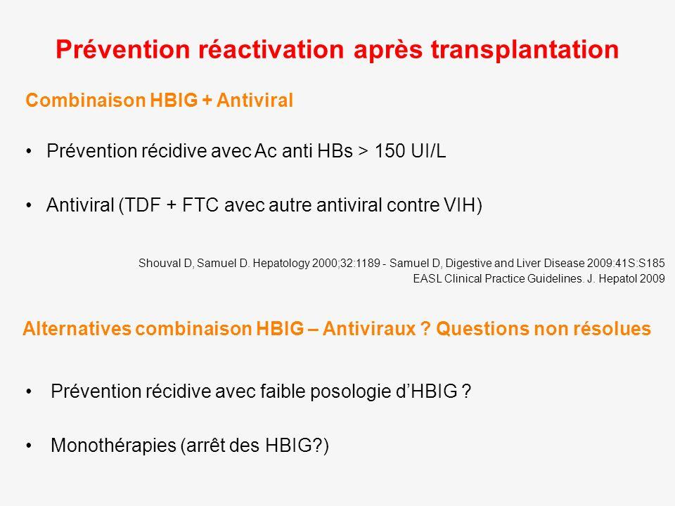 Prévention réactivation après transplantation