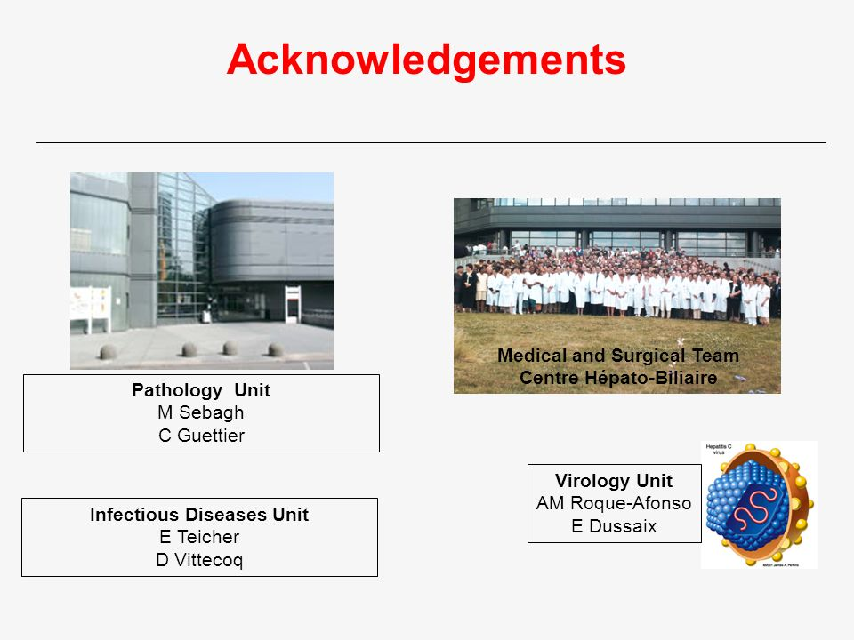 Acknowledgements Medical and Surgical Team Centre Hépato-Biliaire