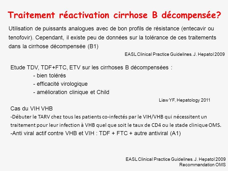 Traitement réactivation cirrhose B décompensée