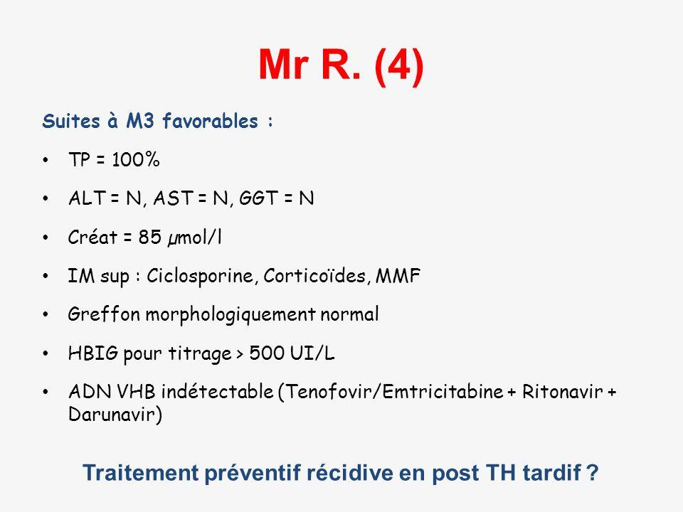 Mr R. (4) Traitement préventif récidive en post TH tardif