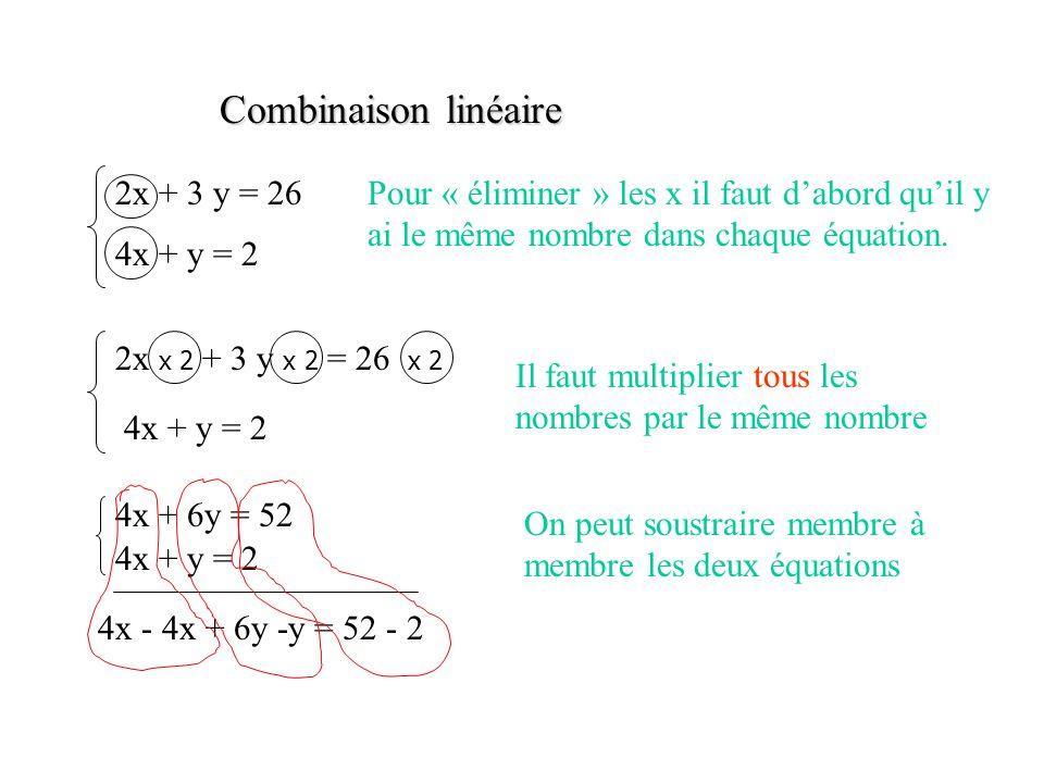 Combinaison linéaire 2x + 3 y = 26