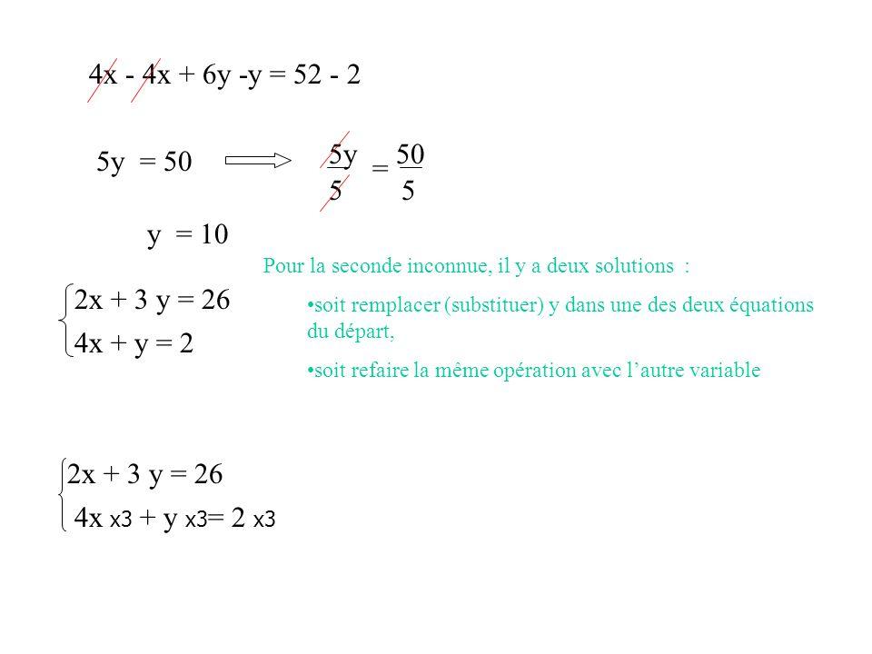 4x - 4x + 6y -y = 52 - 2 5y = 50 5y = 50 = 5 5 y = 10 2x + 3 y = 26