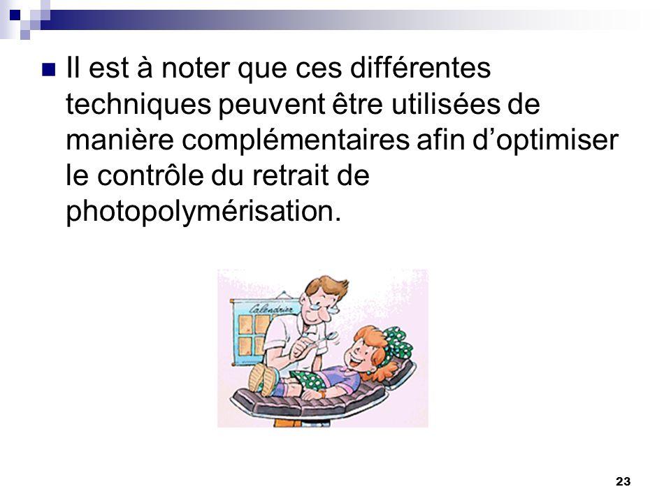 Il est à noter que ces différentes techniques peuvent être utilisées de manière complémentaires afin d'optimiser le contrôle du retrait de photopolymérisation.