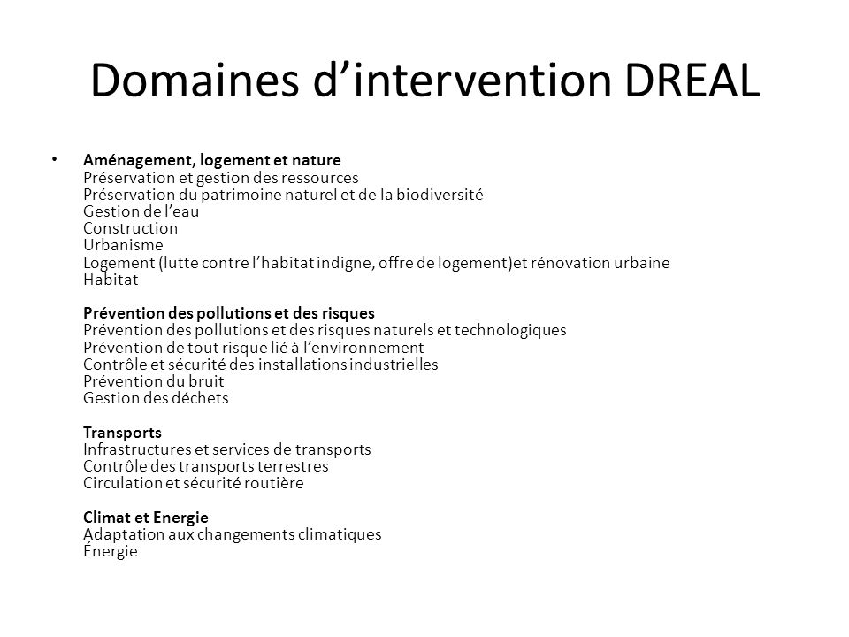 Domaines d'intervention DREAL