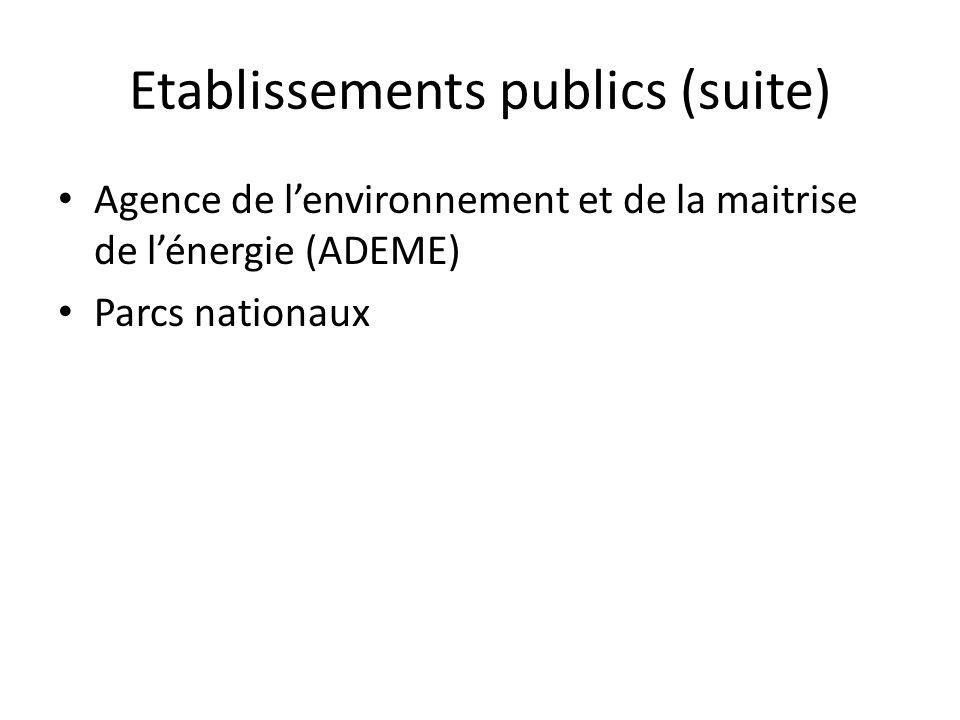 Etablissements publics (suite)