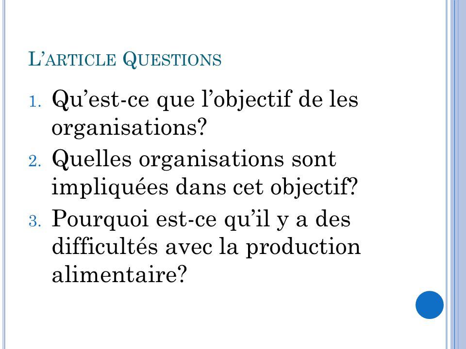 Qu'est-ce que l'objectif de les organisations