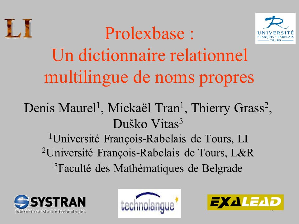 Prolexbase : Un dictionnaire relationnel multilingue de noms propres