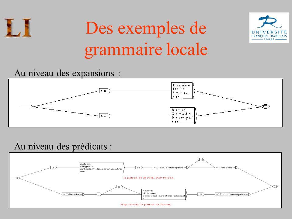 Des exemples de grammaire locale