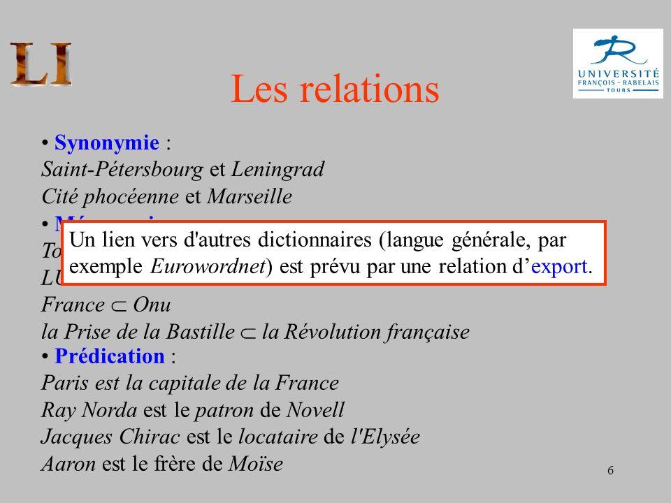 Les relations • Synonymie : Saint-Pétersbourg et Leningrad Cité phocéenne et Marseille.