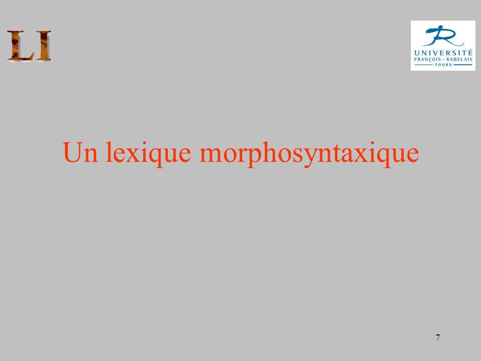Un lexique morphosyntaxique
