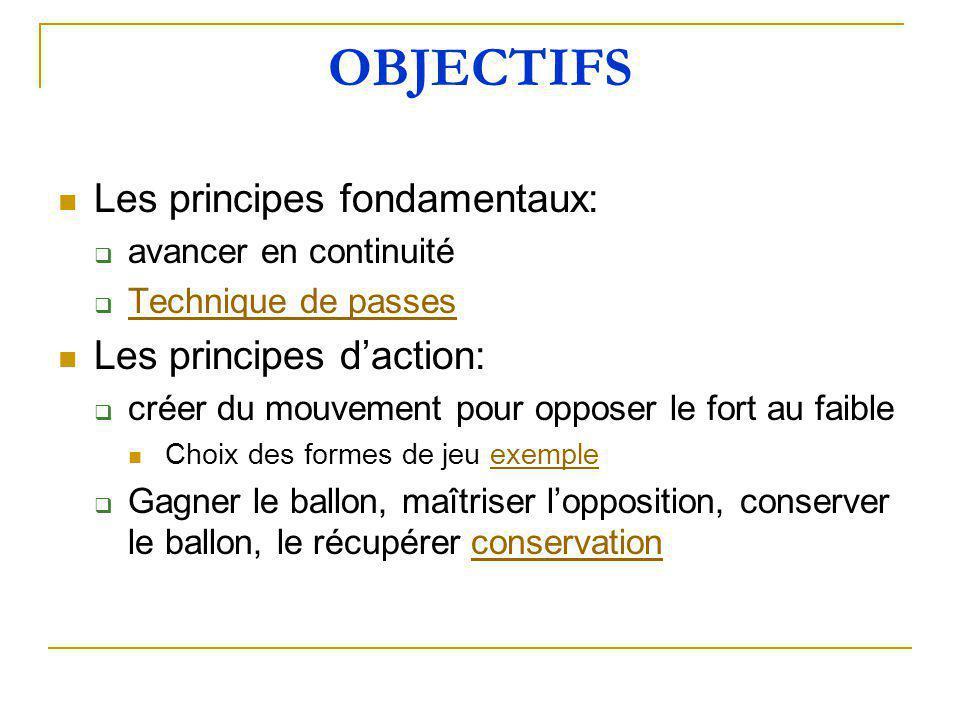 OBJECTIFS Les principes fondamentaux: Les principes d'action: