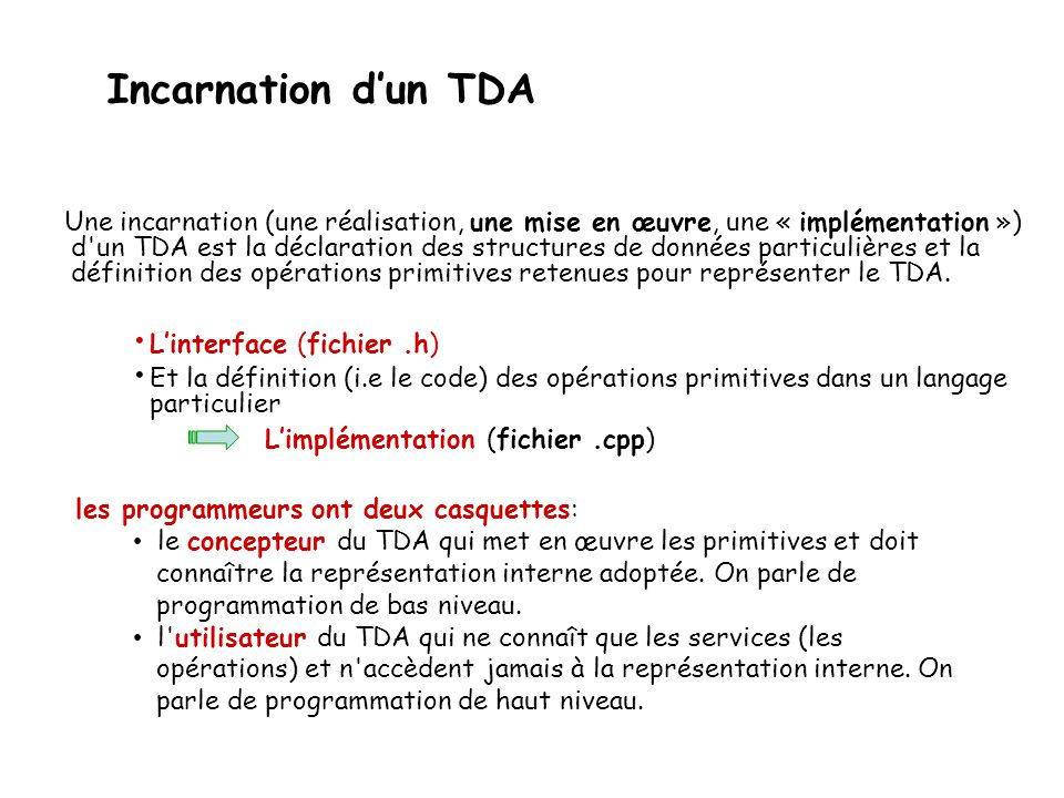 Incarnation d'un TDA L'interface (fichier .h)