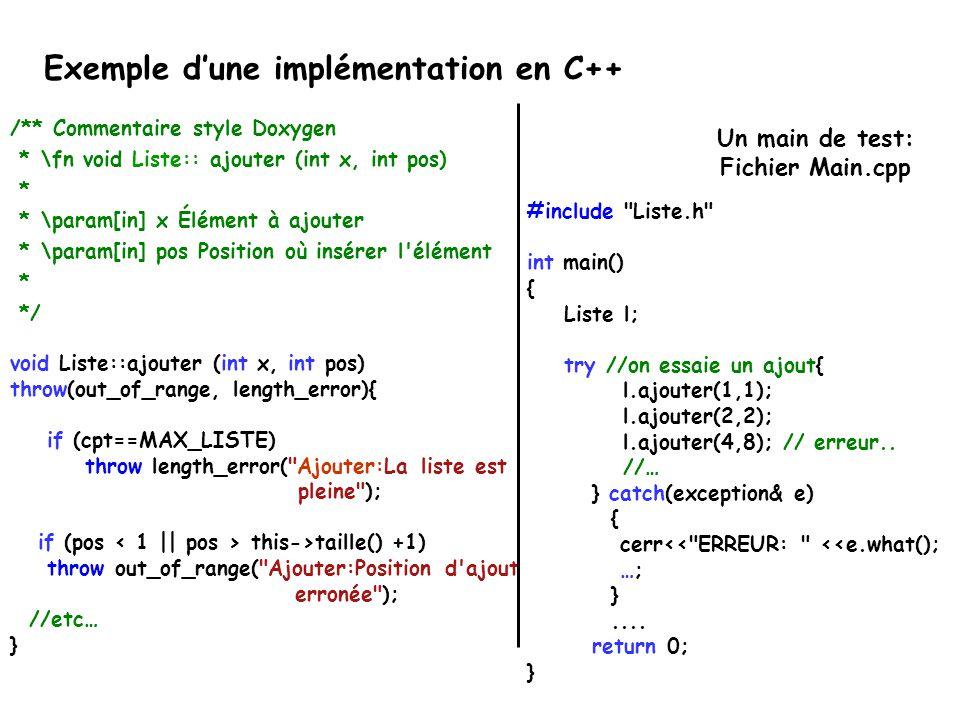Exemple d'une implémentation en C++