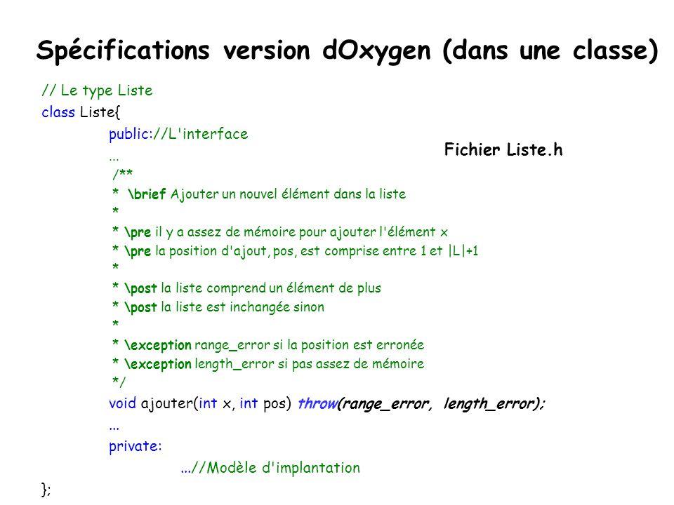 Spécifications version dOxygen (dans une classe)