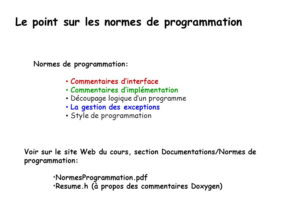 Le point sur les normes de programmation