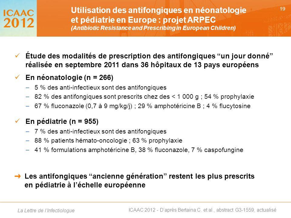 Utilisation des antifongiques en néonatologie et pédiatrie en Europe : projet ARPEC (Antibiotic Resistance and Prescribing in European Children)