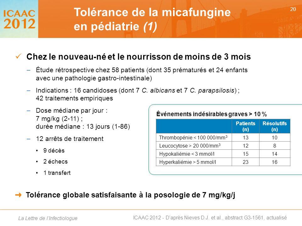 Tolérance de la micafungine en pédiatrie (1)