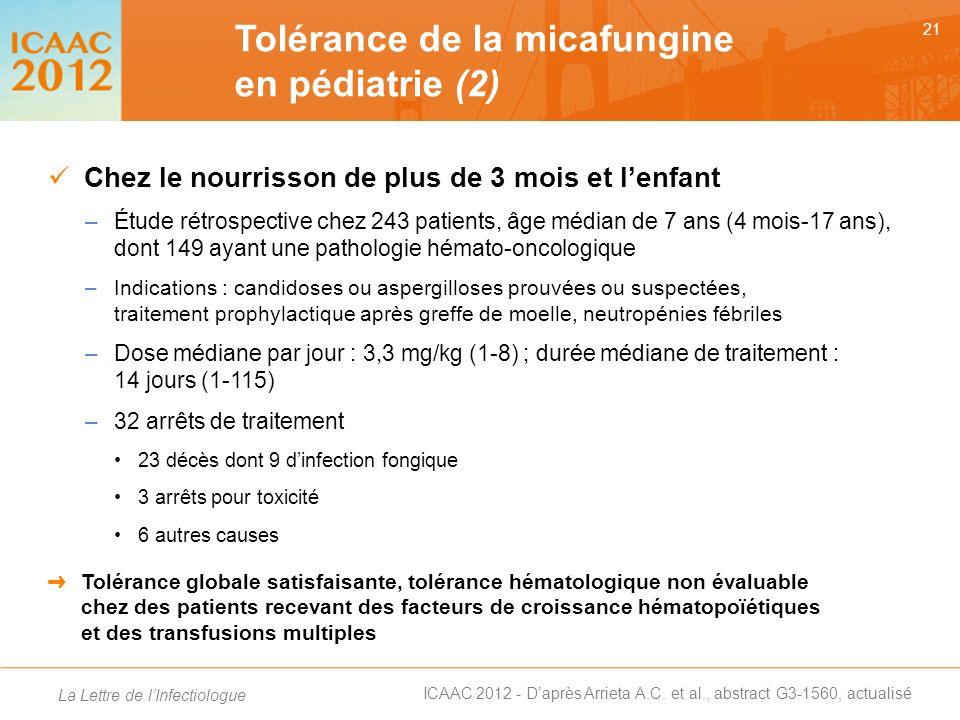 Tolérance de la micafungine en pédiatrie (2)