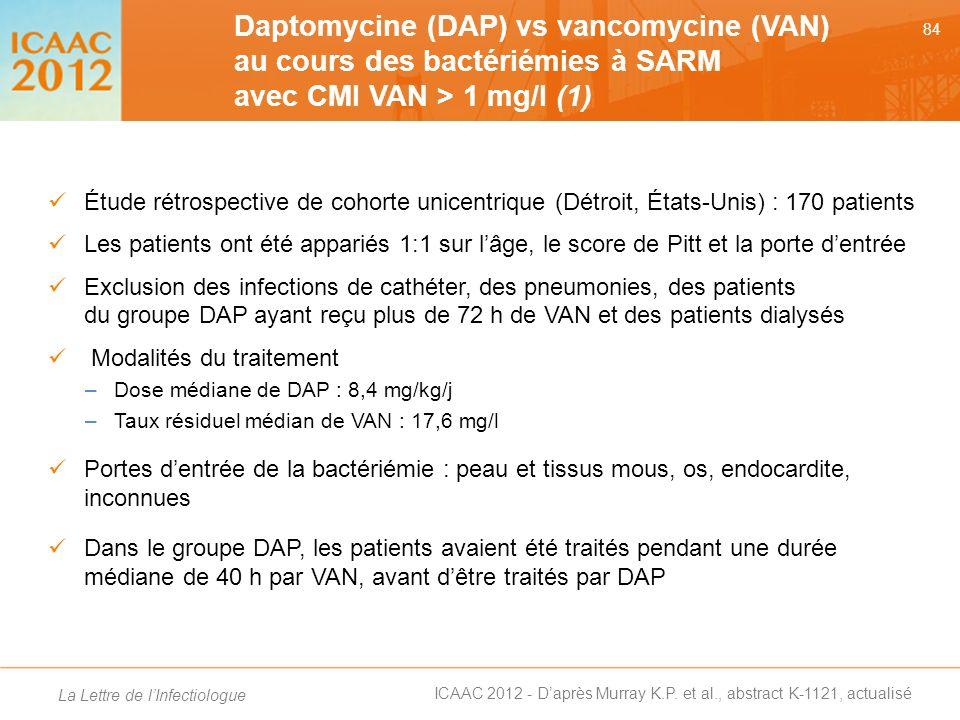 Daptomycine (DAP) vs vancomycine (VAN) au cours des bactériémies à SARM avec CMI VAN > 1 mg/l (1)
