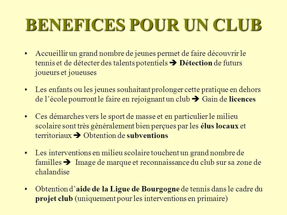 BENEFICES POUR UN CLUB
