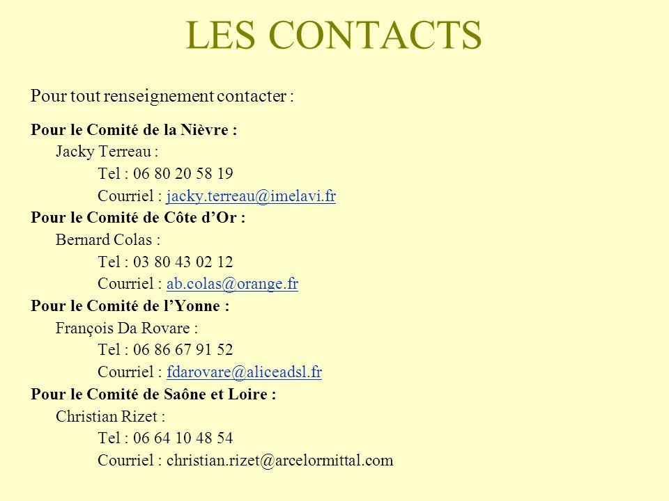 LES CONTACTS Pour tout renseignement contacter :