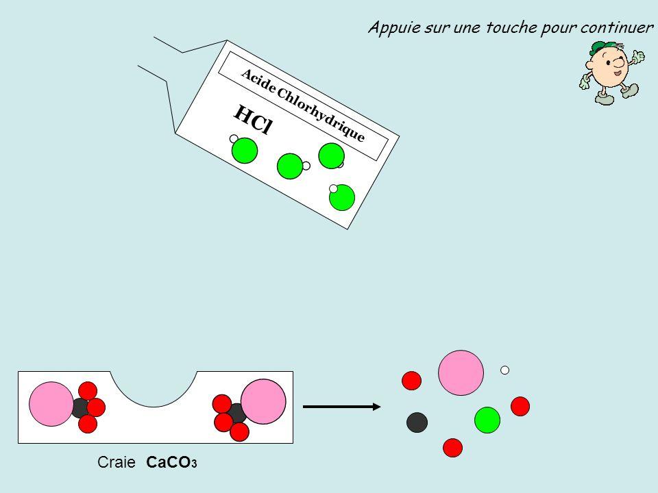 HCl Appuie sur une touche pour continuer Craie CaCO3