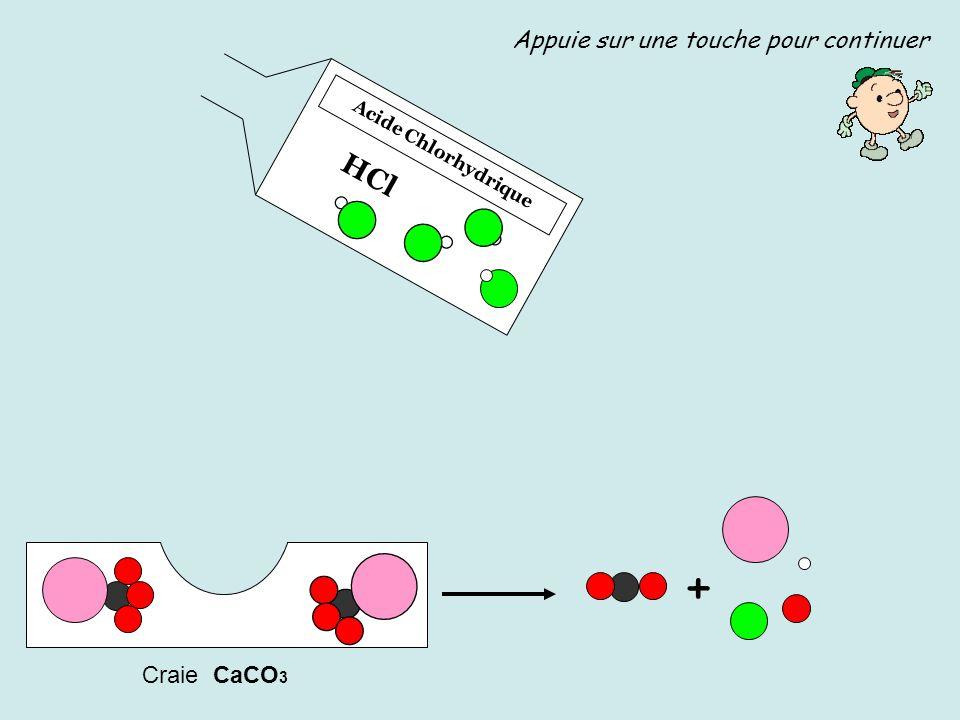 + HCl Appuie sur une touche pour continuer Craie CaCO3