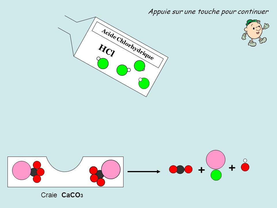+ + HCl Appuie sur une touche pour continuer Craie CaCO3