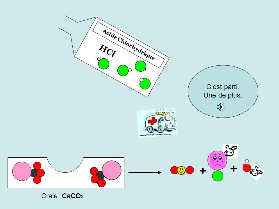 Acide Chlorhydrique HCl C'est parti. Une de plus. + + Craie CaCO3