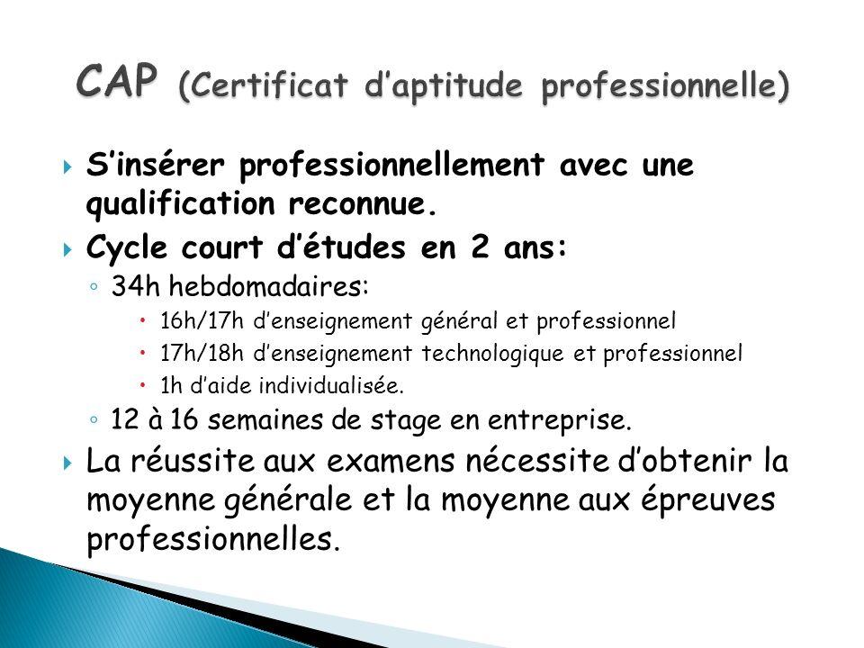 CAP (Certificat d'aptitude professionnelle)
