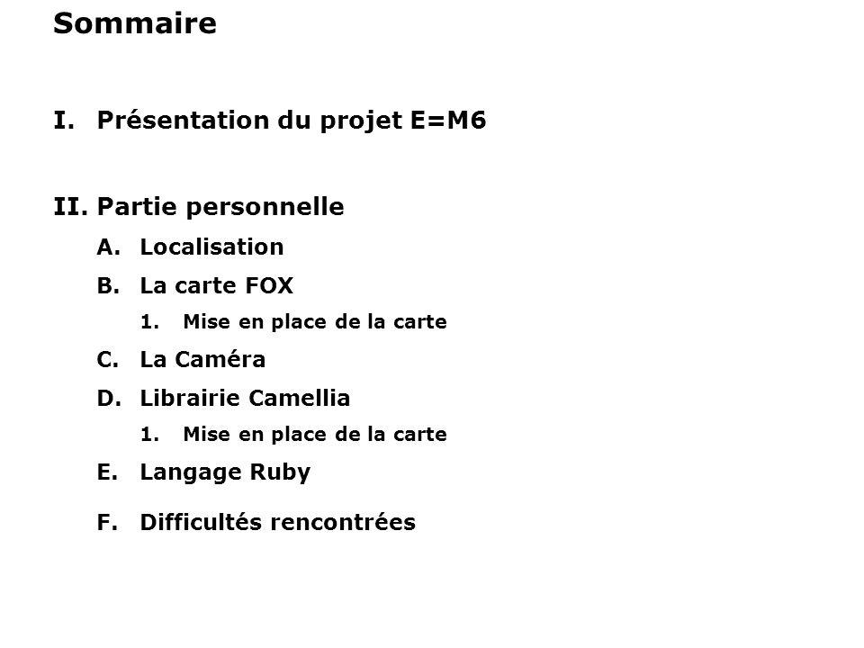 Sommaire Présentation du projet E=M6 Partie personnelle Localisation