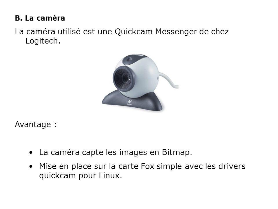 La caméra utilisé est une Quickcam Messenger de chez Logitech.