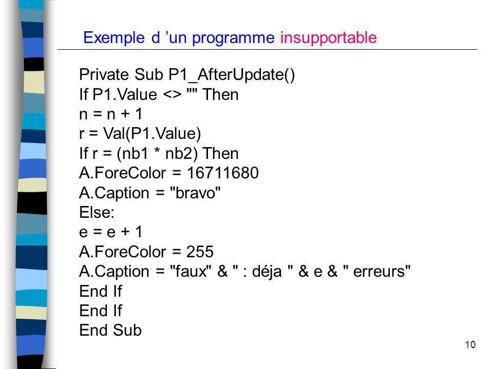 Exemple d 'un programme insupportable