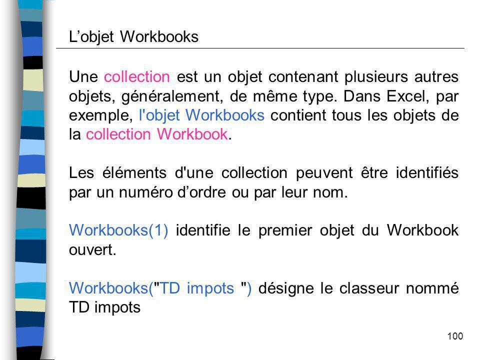 L'objet Workbooks