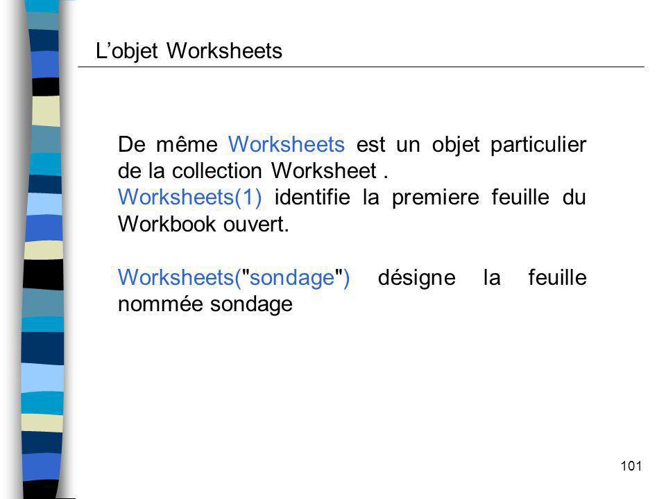 L'objet Worksheets De même Worksheets est un objet particulier de la collection Worksheet .